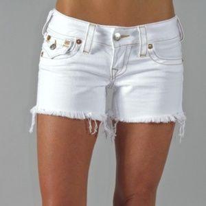 True Religion White Cutoff Denim Shorts size 29